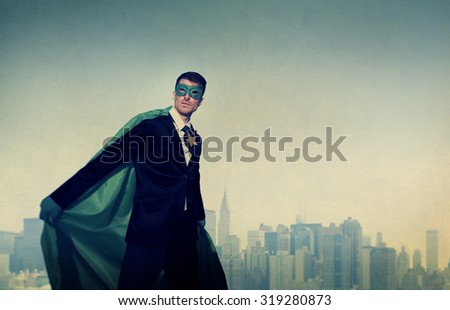 Superhero Businessman Cityscape Leadership Concept