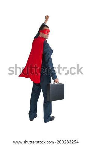 superhero businessman fist pumping isolated on white - stock photo
