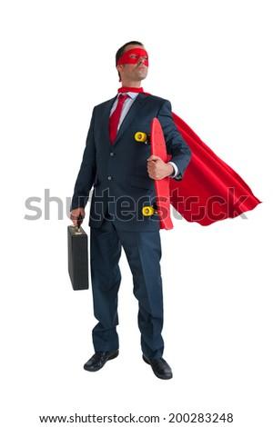 superhero businessman holding a skateboard isolated on white background - stock photo