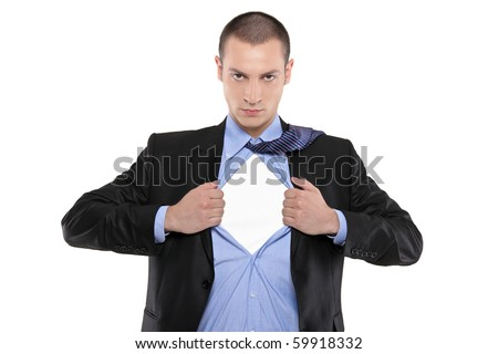 Superhero businessman opening blue shirt Blank white t-shirt underneath provides excellent copy space for your image, text or logo - stock photo