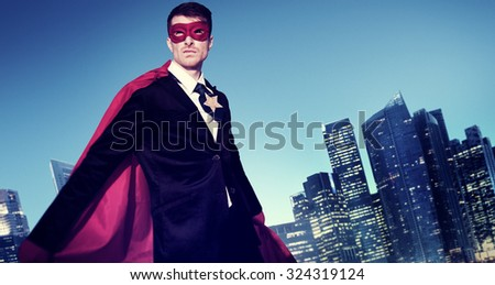 Superhero Costume Businessman Cityscape Concept