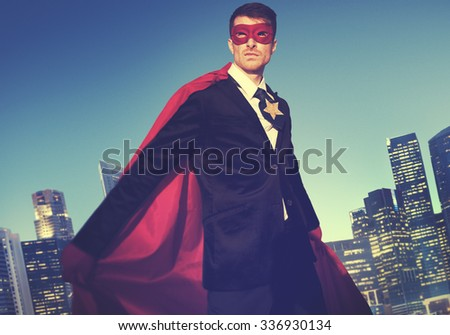 Superhero Costume Businessman Cityscape Concept - stock photo