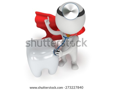 Superhero Doctor with a stethoscope and mirror on his head checkup healthy tooth. 3d render man isolated on white. Medicine and healthcare dental concept. - stock photo