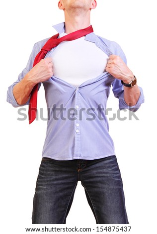 Superhero. Image of young man tearing his shirt off isolated on white background