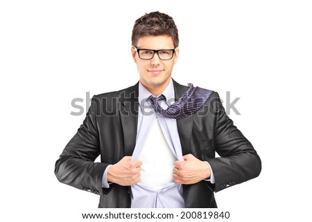 Superhero in a suit tearing his shirt isolated on white background - stock photo
