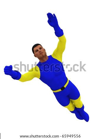 Superhero in flight isolated