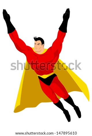 Superhero in flying pose - stock photo
