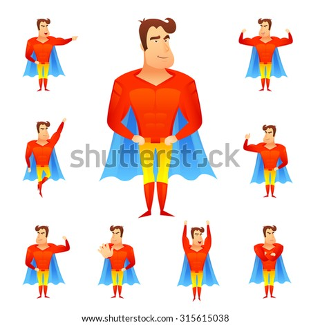 Superhero in red costume and blue cape in different poses avatar set isolated  illustration - stock photo