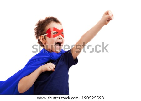 Superhero kid over white - stock photo