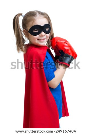 Superhero little girl wearing boxing gloves isolated on white