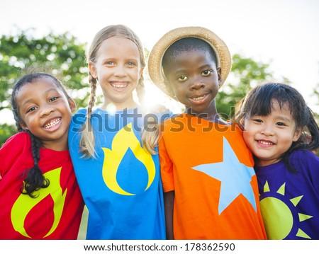 Superhero Multi-ethnic World Children - stock photo