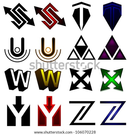 Superhero or athletics symbols s-z - raster
