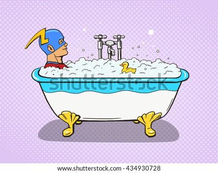 Superhero takes a bath. Cartoon pop art raster illustration. Human comic book vintage retro style. - stock photo