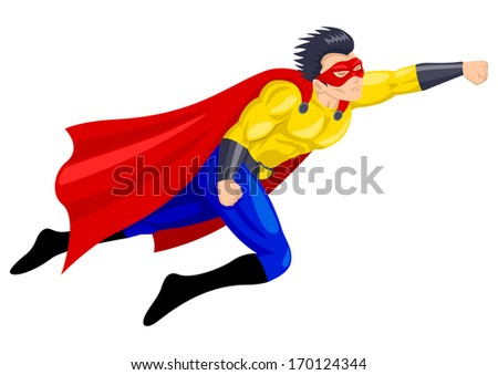 Superhero with a mask in flying pose - stock photo