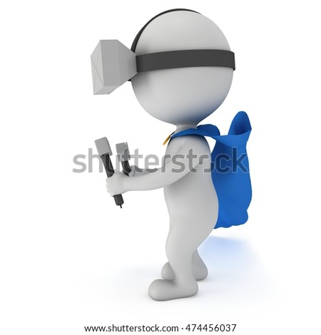 Superhero with blue cloak and virtual reality glasses headset. 3D render illustration isolated on white