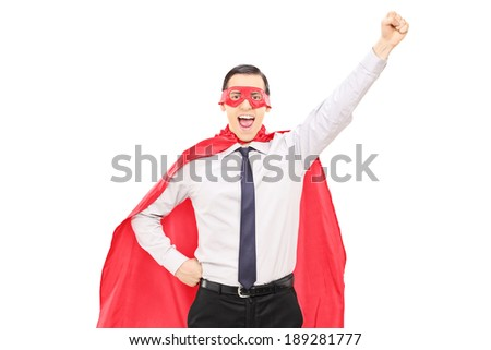 Superhero with raised fist isolated on white background