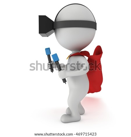 Superhero with red cloak and virtual reality glasses headset. 3D render illustration isolated on white