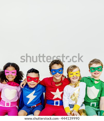 Superheroes Kids Aspiration Cheerful Strength Concept - stock photo