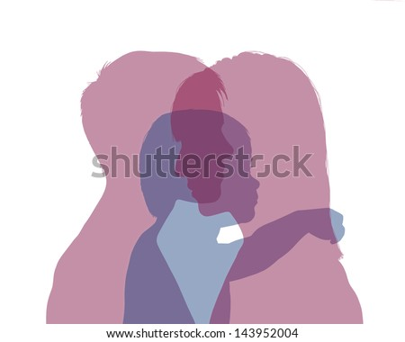 superimposed colorful silhouettes of two young women and their little child between them, symbol of homosexual family with a baby - stock photo