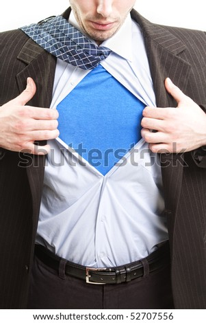 Superman business concept - super hero business man - stock photo