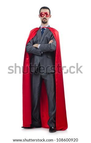 Superman isolated on the white background - stock photo