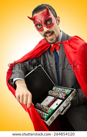 Superman isolated on the white background - stock photo