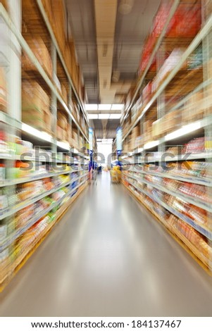 supermarket aisle, motion blur
