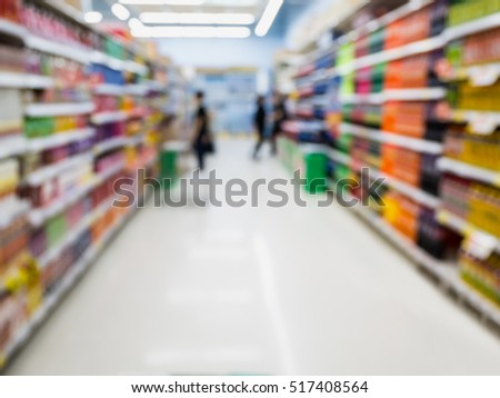 Supermarket Aisle with beverage product Shelves in blurry for background