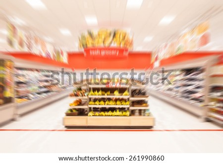 Supermarket and fresh food store promoting healthy lifestyle in blur background - stock photo
