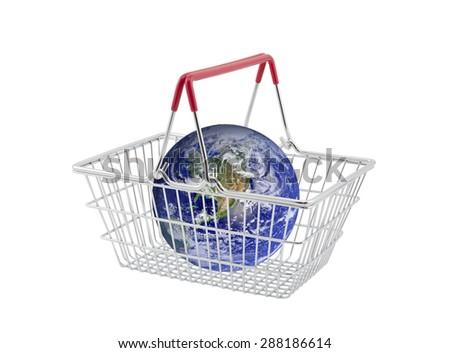 Supermarket basket containing globe isolated on white. Earth image provided by Nasa.  - stock photo