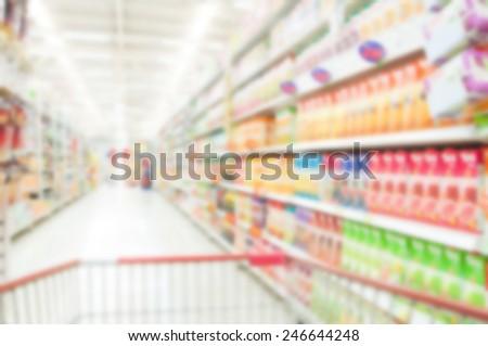 Supermarket blur background , Miscellaneous Product shelf - stock photo