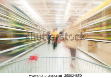 Supermarket blur background , Miscellaneous Product shelf