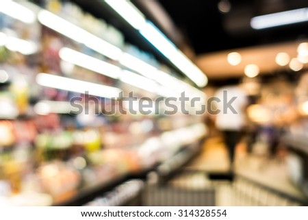 Supermarket blur background with bokeh, Miscellaneous Product shelf - stock photo