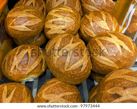 Supermarket. Bread products. - stock photo