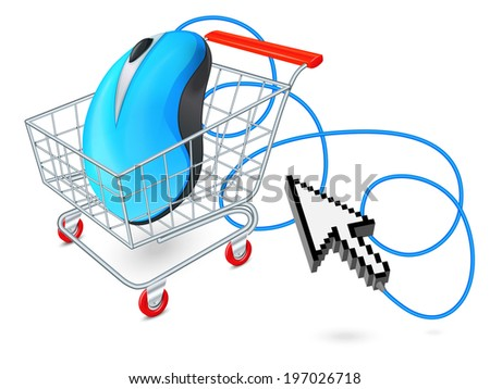 Supermarket cart 3d with computer mouse and click arrow internet shopping concept   illustration - stock photo