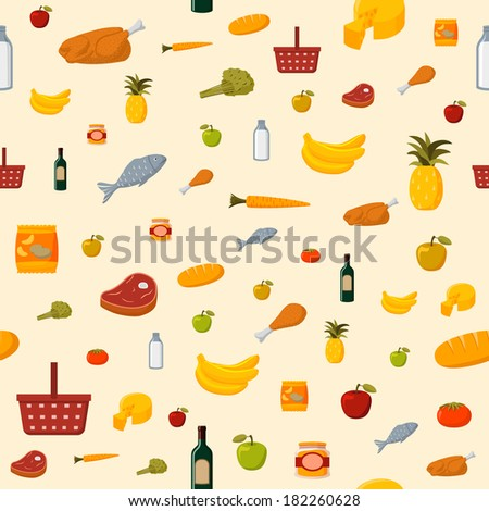 Supermarket food items seamless background of fresh and natural vegetables fruits meat and dairy products isolated  illustration