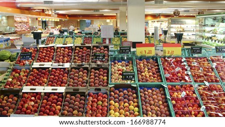 supermarket, fruit shop - stock photo