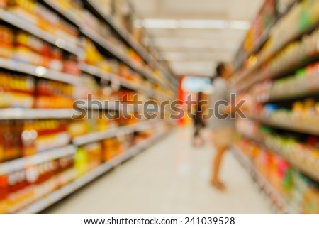 supermarket in blurry for background - stock photo
