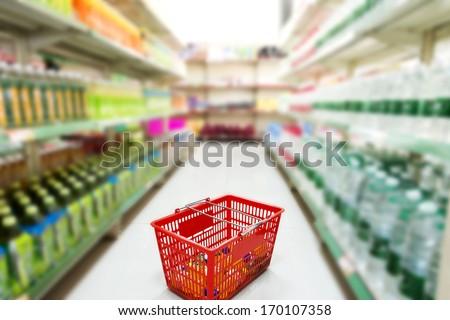 Supermarket interior - stock photo