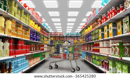 Supermarket interior, shelves with various products and full  trolley basket - stock photo