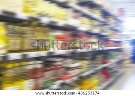 Supermarket motion blur background , Wide perspective of supermarket aisle