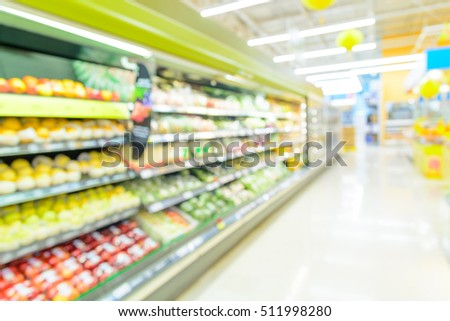Supermarket or Hypermarket store, Fresh Product department, blur background with bokeh