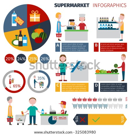 Supermarket people infographics set with men and women grocery shopping elements and charts  illustration - stock photo