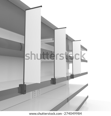 supermarket shelf at an angle with blank shelfstopper - stock photo