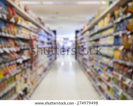 Supermarket shelf Blurred Interior perspective as background