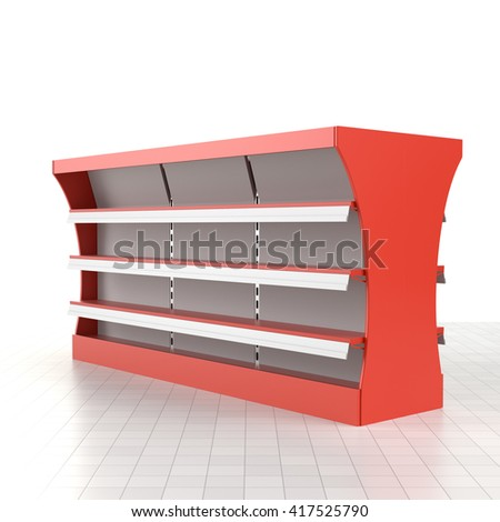 Supermarket shelf. 3D rendering