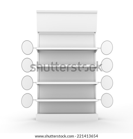 supermarket shelf from front with blank round wobblers - stock photo