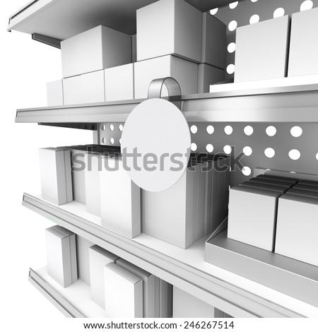supermarket shelf in perspective with blank round wobbler and boxes - stock photo