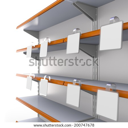 supermarket shelf in perspective with blank square wobblers - stock photo