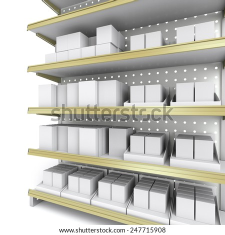 supermarket shelf in perspective with lots of boxes - stock photo